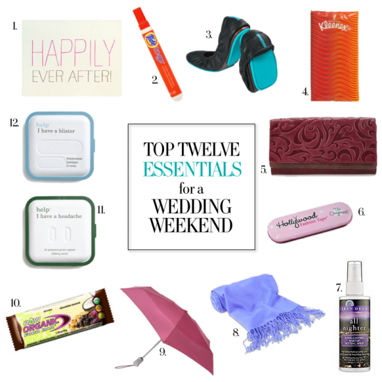 TOP 12 ESSENTIALS FOR A WEDDING WEEKEND