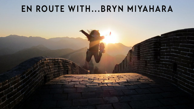 Jumping on the Great Wall at sunset.