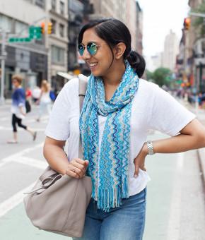 Blue scarf mirrored sunglasses