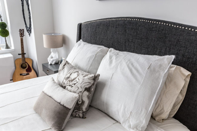 Target headboard West Elm bedding Rebecca Atwood pillows