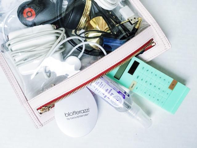 Work Essentials - MacBook Air charger, iPhone retractable charger, Truffle clutch, calculator, Blotterazi