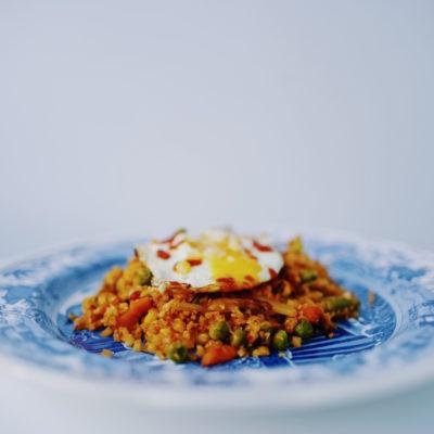 5 Ingredient Kimchi Cauliflower Fried Rice