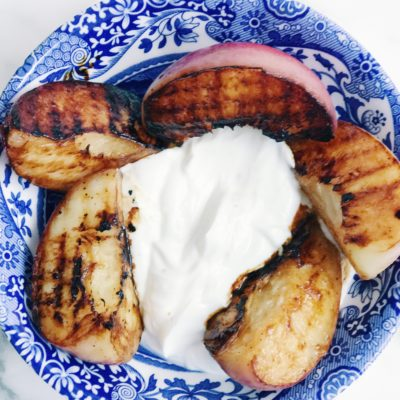 Grilled Peaches with Honey-Pepper Greek Yogurt